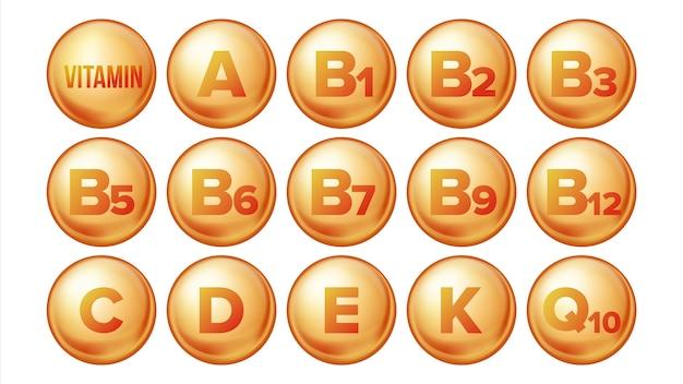 Conjunto de ícones de vitamina.