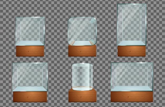 Conjunto de ícones de vitrine de vidro.