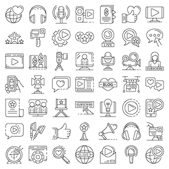 Conjunto de ícones de vlog. conjunto de tópicos de ícones do vetor de vlog
