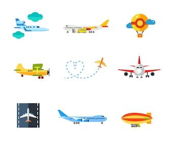 Conjunto de ícones de vôo