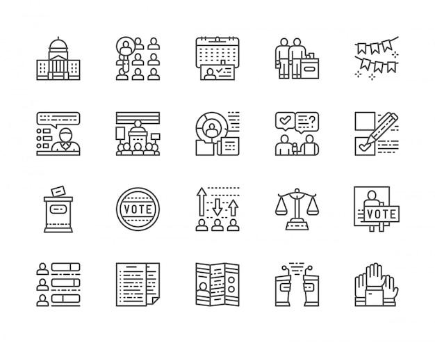 Conjunto de ícones de votação e eleições