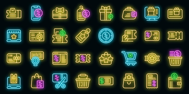 Conjunto de ícones de vouchers online. conjunto de contorno de ícones de vetor de vouchers on-line cor de néon no preto