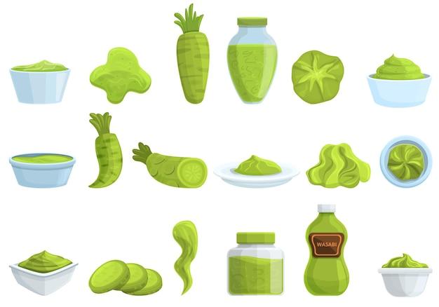 Conjunto de ícones de wasabi. conjunto de desenhos animados de ícones do vetor wasabi para web design