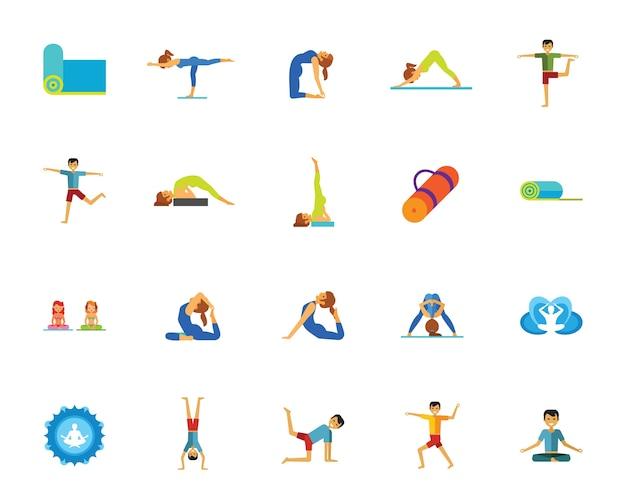 Conjunto de ícones de yoga e fitness