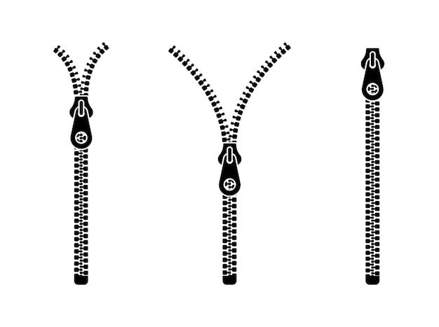Conjunto de ícones de zíper abertos e fechados.