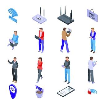 Conjunto de ícones de zona wi-fi. conjunto isométrico de ícones de zona wi-fi para web isolado no fundo branco