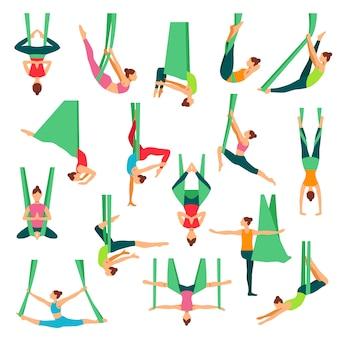 Conjunto de ícones decorativos de aero yoga
