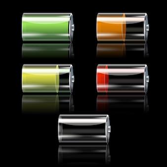 Conjunto de ícones decorativos de bateria realista