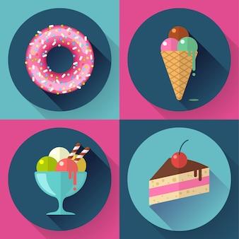 Conjunto de ícones decorativos de bolos e doces com sorvete de bolo de rosca