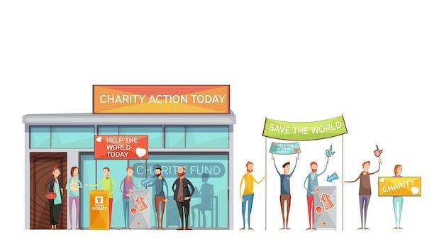 Conjunto de ícones decorativos de caridade de pessoas com cartazes participando de reuniões e eventos