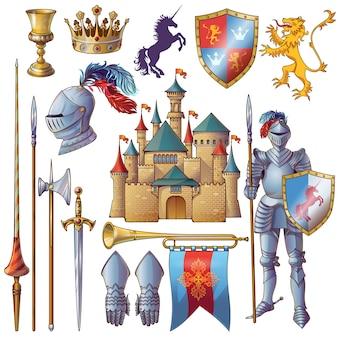 Conjunto de ícones decorativos de cavaleiro