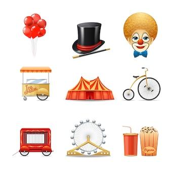 Conjunto de ícones decorativos de circo com realista palhaço marquise tenda bicicleta isolada
