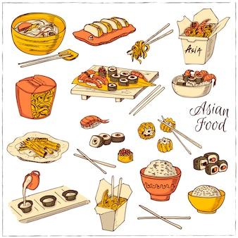 Conjunto de ícones decorativos de comida chinesa