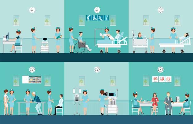 Conjunto de ícones decorativos de cuidados de saúde de enfermeira.