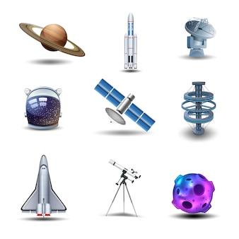 Conjunto de ícones decorativos de espaço