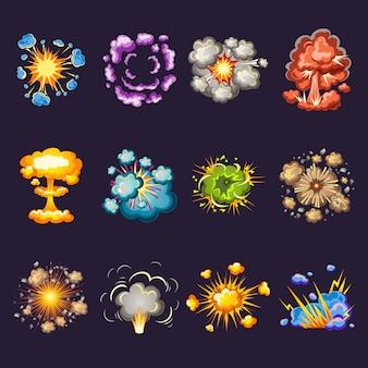 Conjunto de ícones decorativos de explosões em quadrinhos