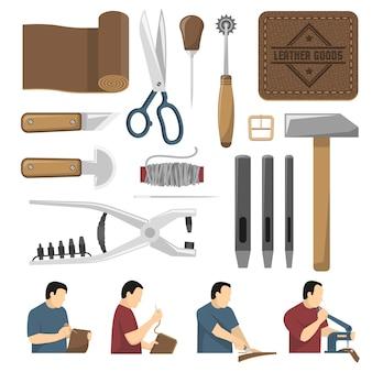 Conjunto de ícones decorativos de ferramentas skinner