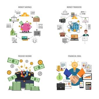 Conjunto de ícones decorativos de finanças