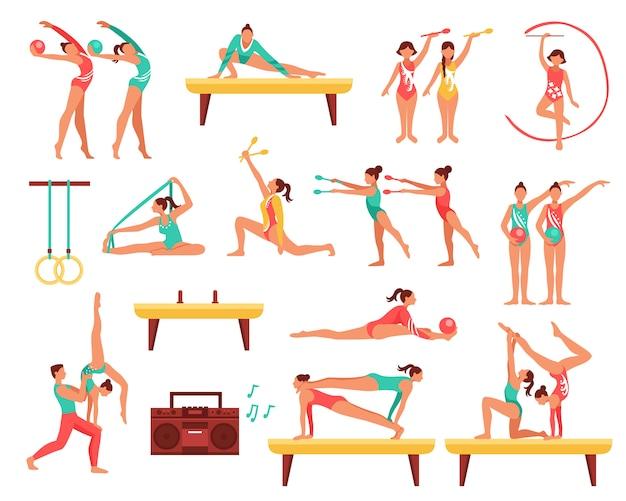 Conjunto de ícones decorativos de ginástica e actobatics