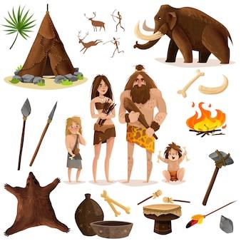 Conjunto de ícones decorativos de homens das cavernas