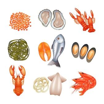 Conjunto de ícones decorativos de marisco com algas caviar de peixe lagosta