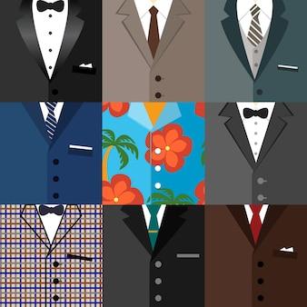 Conjunto de ícones decorativos de negócios de ternos clássicos clássicos de smoking hipster com laços de gravata e uma ilustração vetorial de camisa aloha