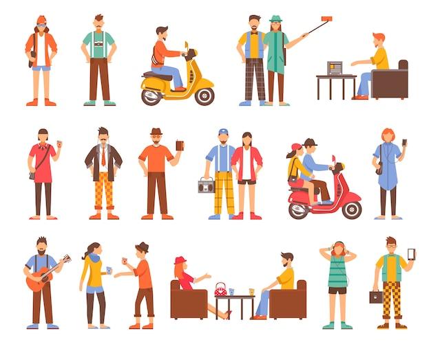 Conjunto de ícones decorativos de pessoas hipster