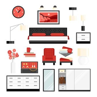 Conjunto de ícones decorativos de quarto