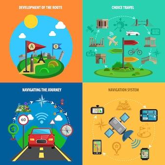 Conjunto de ícones decorativos de viagens e navegação