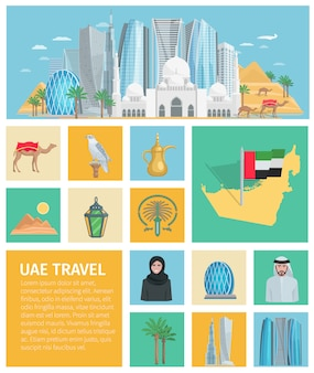 Conjunto de ícones decorativos emirados árabes unidos
