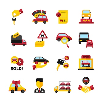 Conjunto de ícones decorativos liso de concessionária de carro com contrato de vendedor de aperto de mão de chaves de veículos isolado vector illustration
