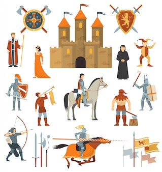 Conjunto de ícones decorativos medievais