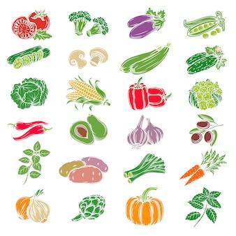 Conjunto de ícones decorativos vegetais.