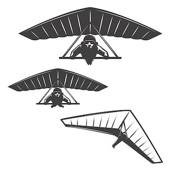 Conjunto de ícones deltaplan em fundo branco. elementos para o logotipo, etiqueta, emblema, sinal, marca, cartaz.