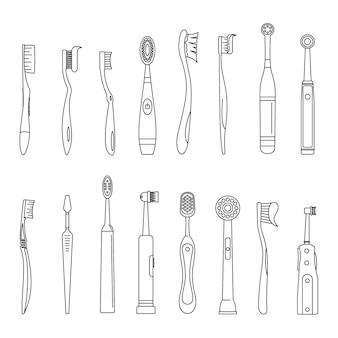 Conjunto de ícones dentais de escova de dentes