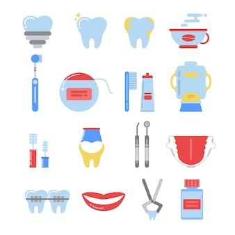 Conjunto de ícones dentais. fotos de vetor de anatomia isolar
