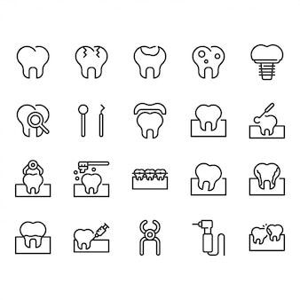 Conjunto de ícones dentais.