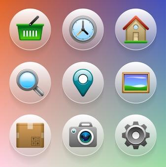 Conjunto de ícones dentro de círculos