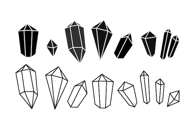 Conjunto de ícones desenhados à mão de silhueta de gema de cristal em estilo doodle símbolo geométrico e místico