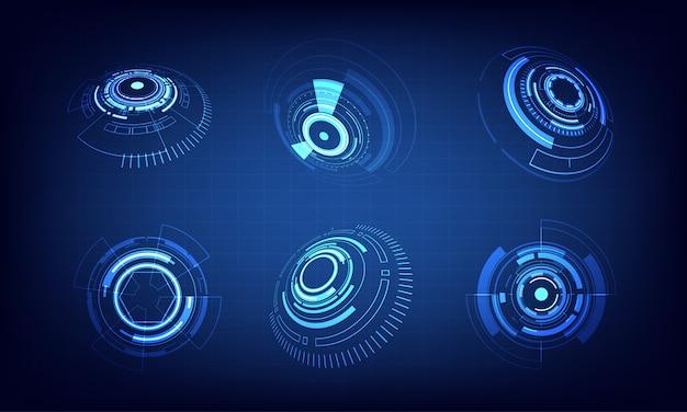 Conjunto de ícones, design de círculo de tecnologia