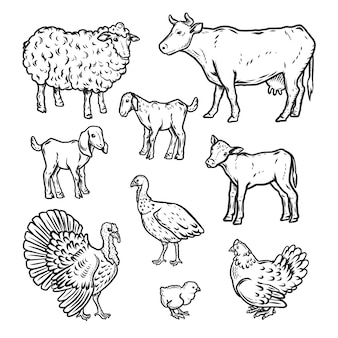 Conjunto de ícones detalhados de animais de fazenda