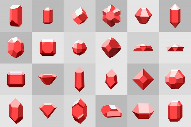 Conjunto de ícones. diamante. pedras preciosas e pedras em muitas variações