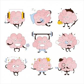 Conjunto de ícones diferentes atividades e emoticons de cérebro