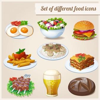 Conjunto de ícones diferentes de comida