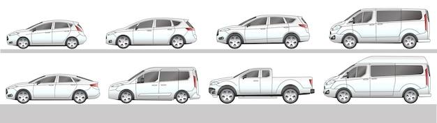 Conjunto de ícones diferentes do carro ilustração em vetor desenho