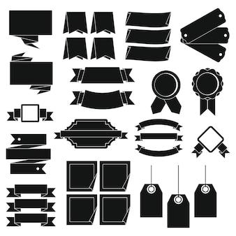 Conjunto de ícones diferentes rótulos coloridos, estilo simples