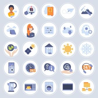 Conjunto de ícones diferentes tecnologia coleção plana isolada