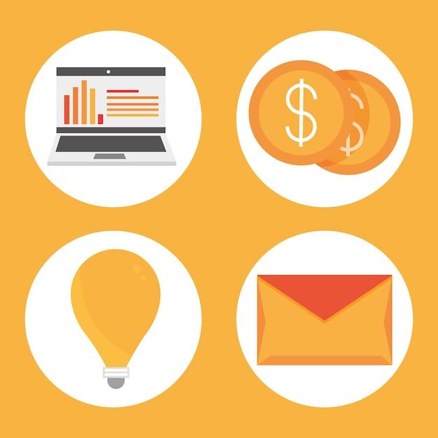 Conjunto de ícones digitais de marketing