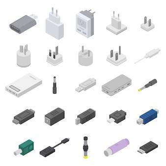 Conjunto de ícones do adaptador, estilo isométrico