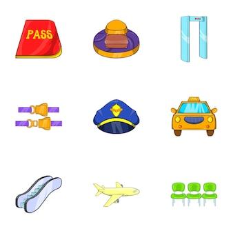 Conjunto de ícones do aeroporto, estilo cartoon